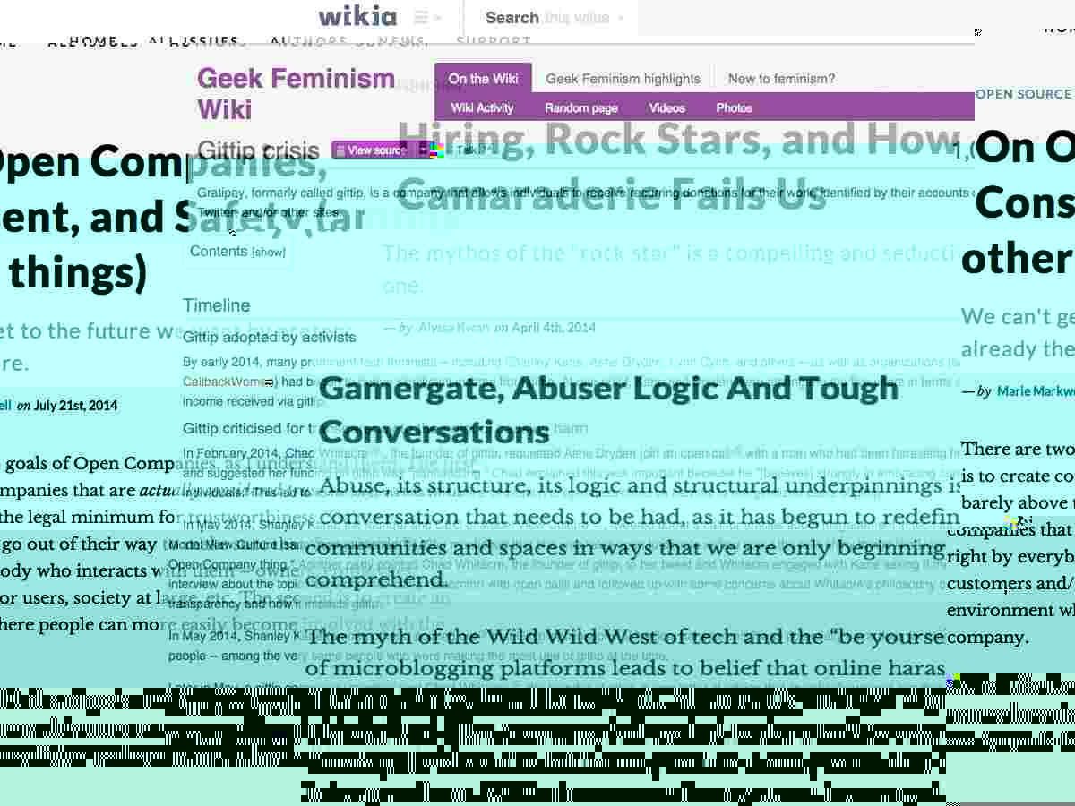 Glitched and confused screenshots of several websites talking about venture capital, open companies, Gittp, consent, and safety.