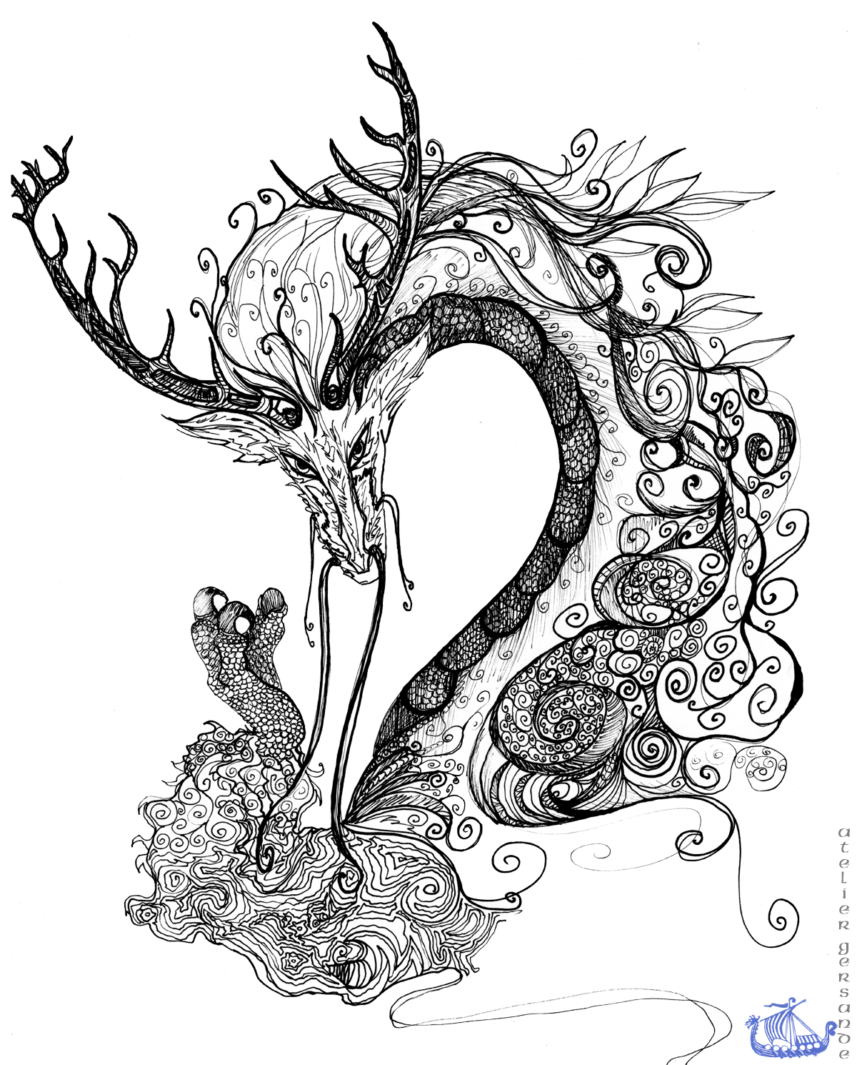 A drawing of a dragon with antlers and claws, and skin resembling seashells.
