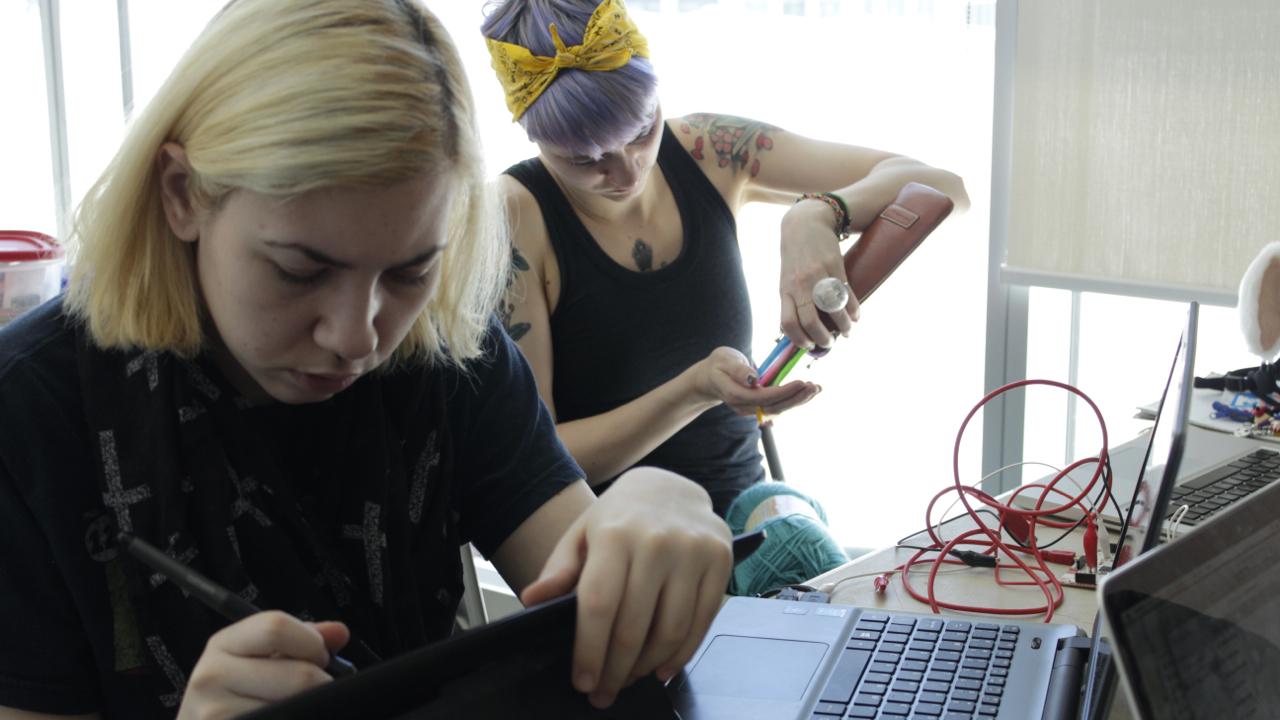 Jessica and Marysa working.