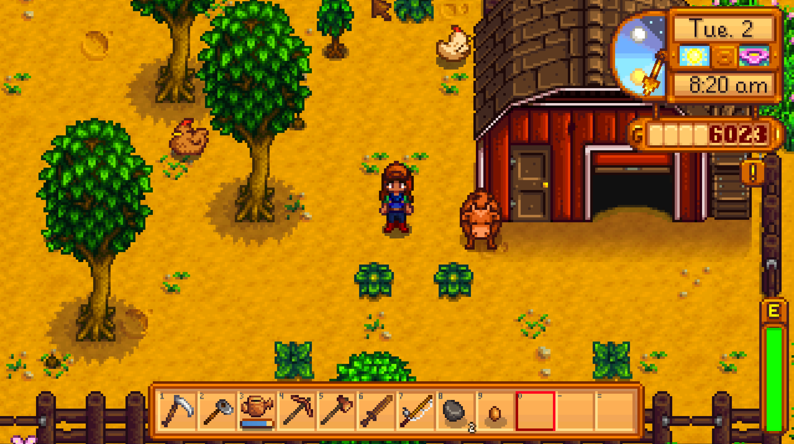 My barn, my two chickens and my cow