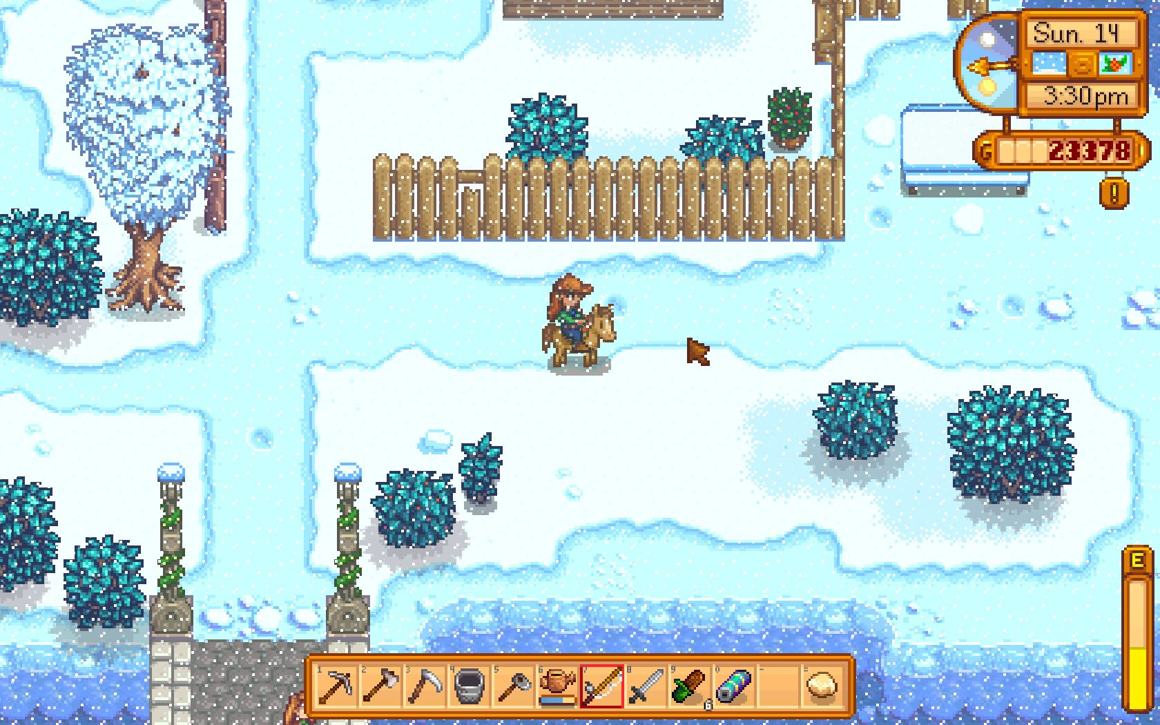 A screenshot of my player character riding a horse in Stardew Valley