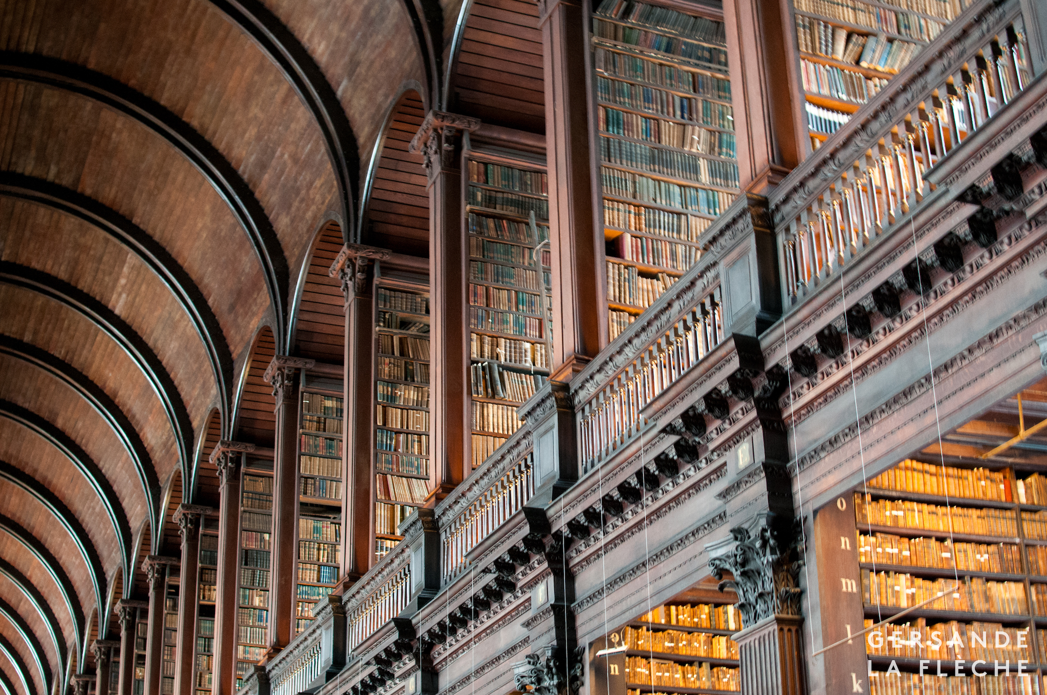 Photo by the author. A photo of the Long Room in the old library of Trinity College Dublin.