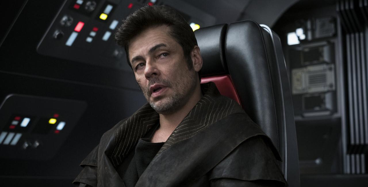 Benicio Del Toro on the set of The Last Jedi as his character DJ.