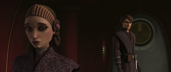 Screenshot of Anakin and Padme from the animated Clone Wars series.