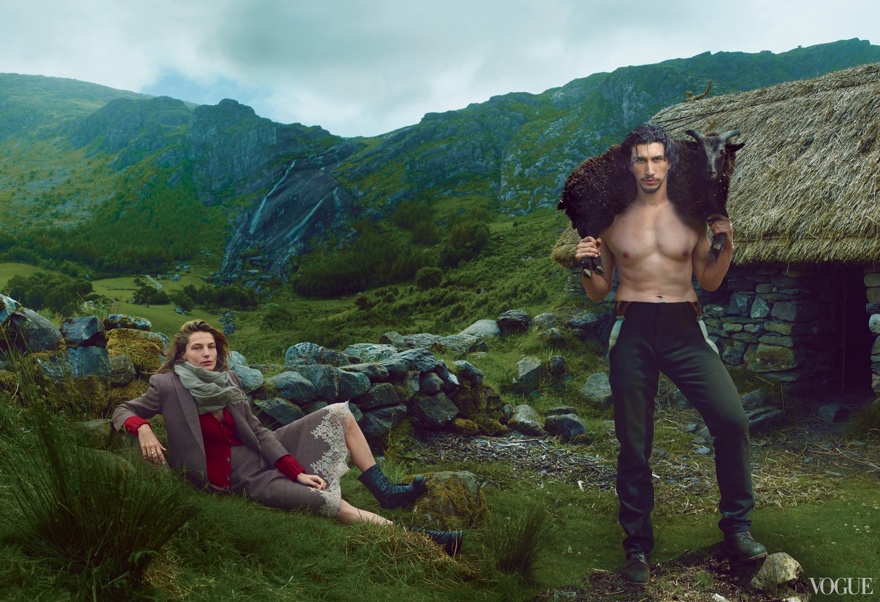A Vogue photoshoot featuring a shirtless Adam Driver carrying a fluffy ram against a backdrop of mountains.