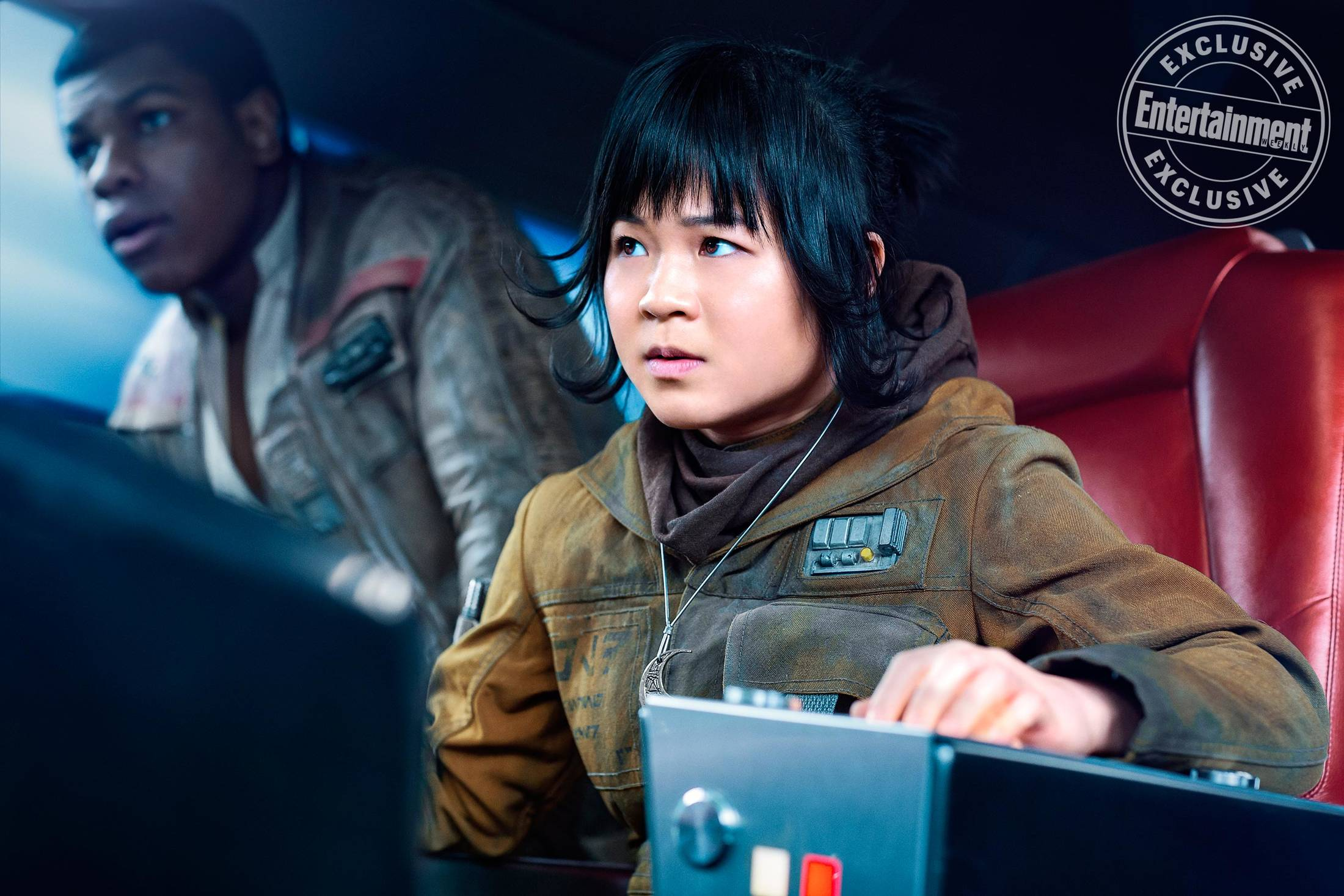 A photo from The Last Jedi of Rose Tico wearing her half-moon necklace