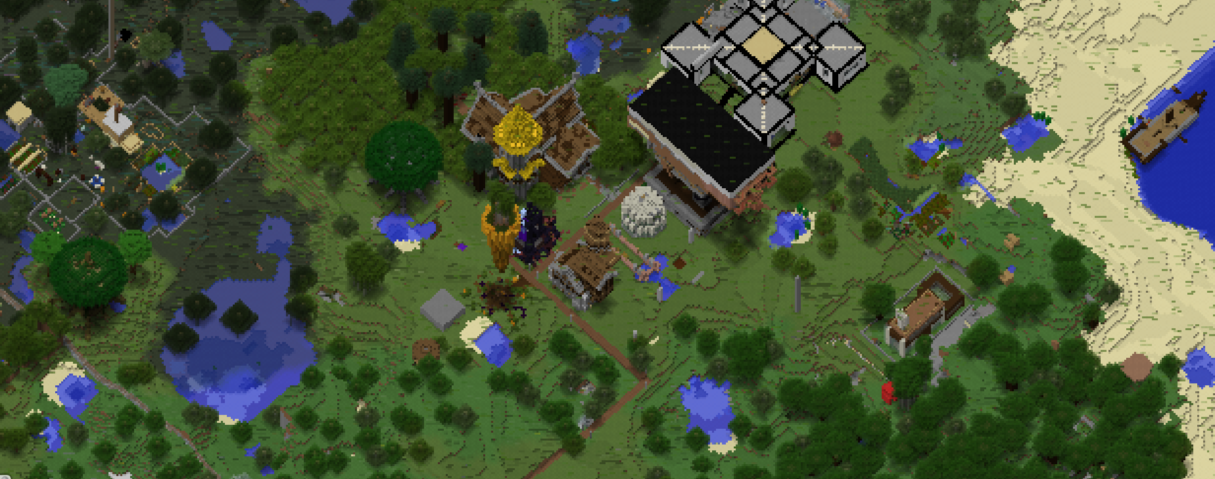 A screenshot of the original spawn point (note the gigantic, floating carrot), from the Germinal Minecraft server map.