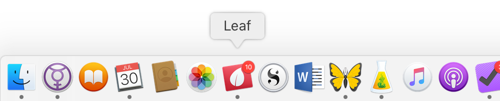 A screenshot of my Dock, with the mouse hovering over the Leaf icon.