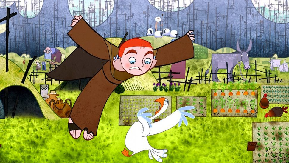 A still from the 2009 animated film The Secret of Kells, where a young boy in an Irish monastery in either the 9th or 10th century is tasked with plucking more feathers from a most unwilling goose so that the monks may continue their work illuminating (illustrating) Bibles.
