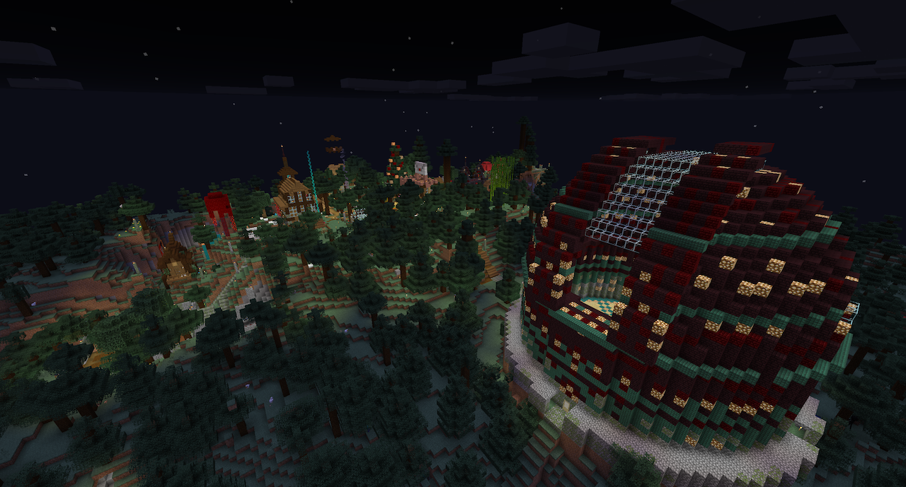 A screenshot of the lanscape of the spawn area on my Minecraft server.
