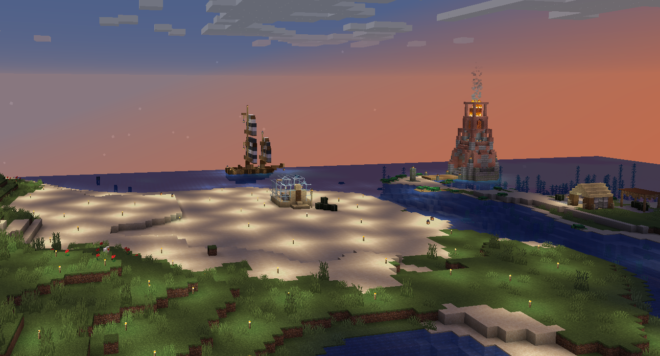 A third screenshot of my Minecraft server, showing the coast and a lighthouse and a boat.