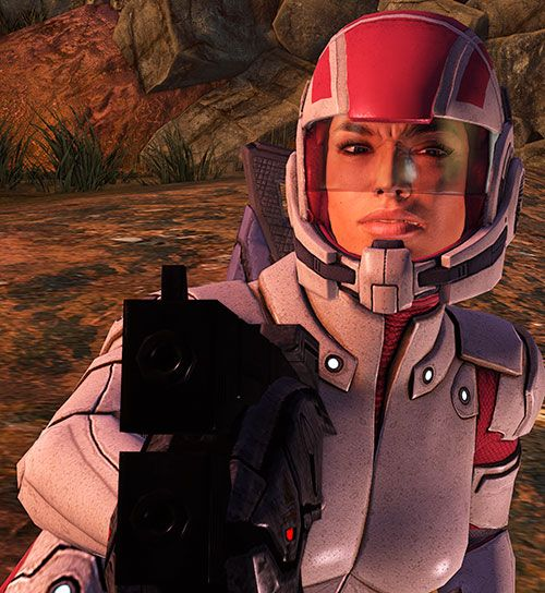A screenshot of Ashley Williams, a character from the first Mass Effect videogame.