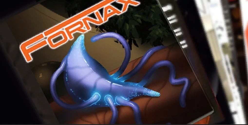 An up-close screenshot of Fornax, the in-game porn magazine in the Mass Effect Universe. I love that Mass Effect has porn lol.