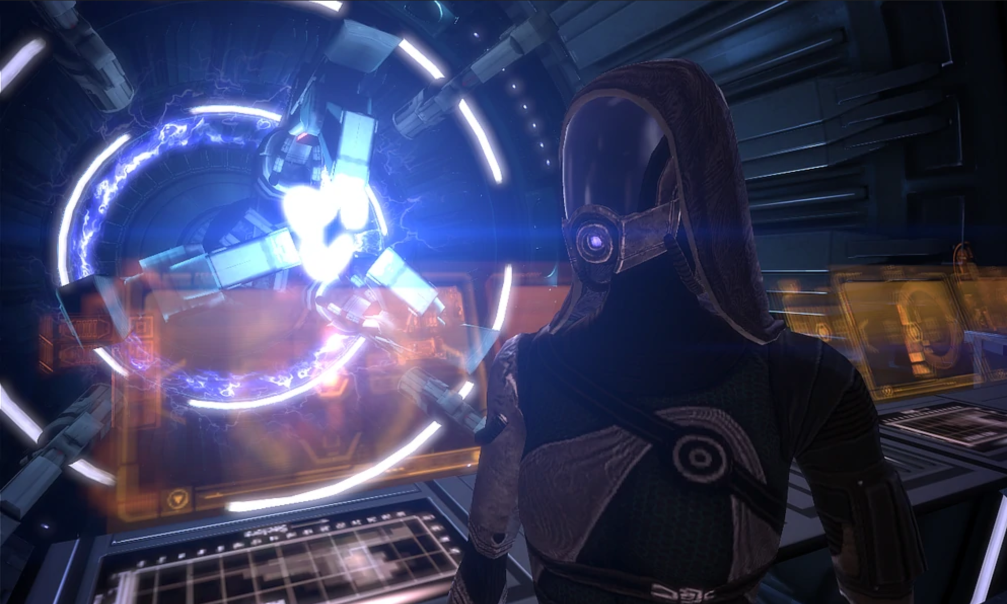 A screenshot of Tali helping out in the Normandy's mass effect core (engine room).