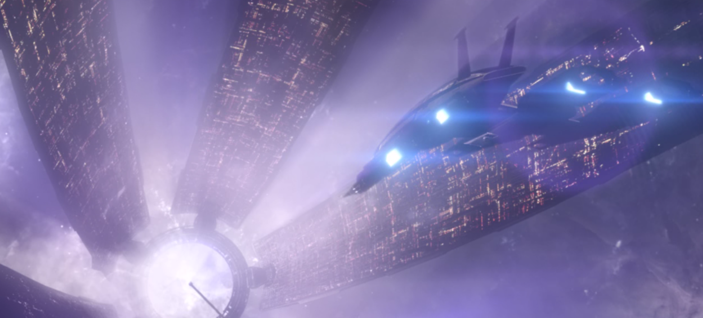 A screenshot of Commander Shepard's ship The Normandy landing at the Citadel Space Station in the first game.