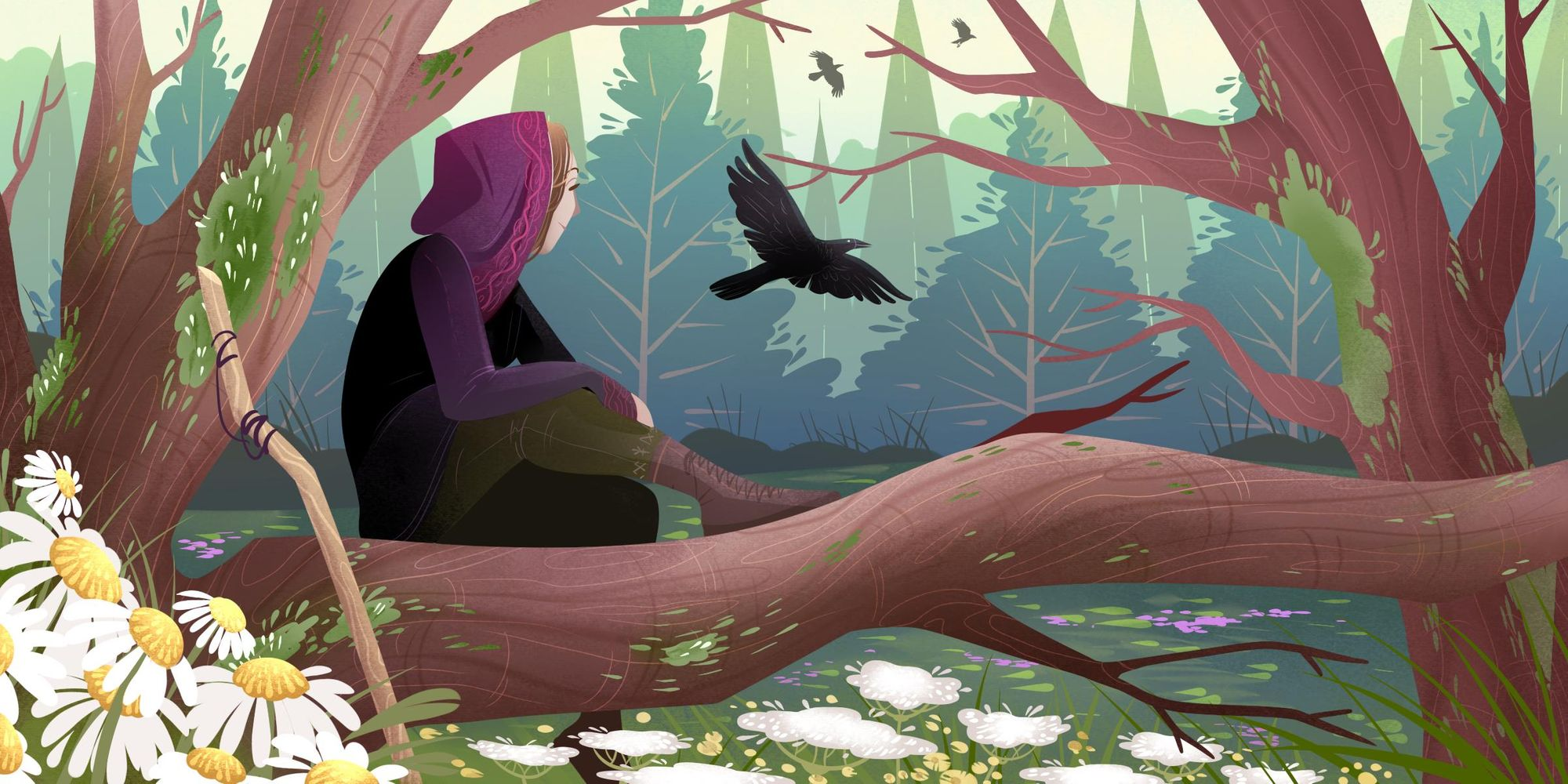 A digital illustration of a hooded figure sitting on a tree branch in a flower field, watching the crows take off in a pine forest.
